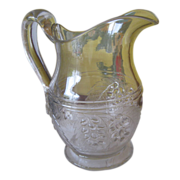 EAPG Water Pitcher - Barberry Pattern Glass - Applied Handle