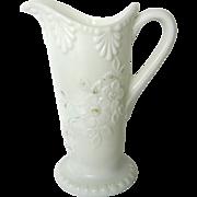 Rare Florentine Milk Glass Pitcher & 2 Tumblers by Riverside Glass