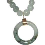 SALE Jade Nephrite Necklace with 14K Jade Pendent