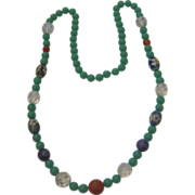 Unique Glass and Stone Necklace with Rock Crystal, Cloisonne Amethyst and Carnelian Beads