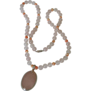 SALE Rose Quartz and Angel Skin Coral Necklace - Sterling Pendent