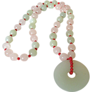 SALE Rose Quartz Necklace with Jade Pendent and Small Coral Spacers