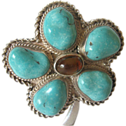 SALE Large Sterling Pin/Brooch With Turquoise and Carnelian Stones - Signed China