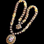 REDUCED Damascene Victorian Style Porcelain Rose Crystal Necklace