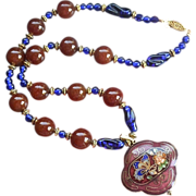 REDUCED Cloisonné Cobalt Peking & Carnelian Art Glass Medallion Necklace