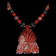 REDUCED Carved Aztec Spirit Warrior Stone Pendant Necklace