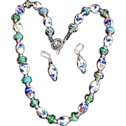 REDUCED Old World Japanese Painted Porcelain Beads Crystal Necklace