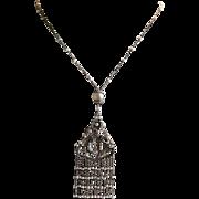 SALE Vintage Art Nouveau Gilt Silver Filigree Seed Pearl Fringe Necklace
