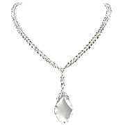 SALE 1930's Czechoslovakian Clear Crystal Faceted Beaded Pendant Necklace