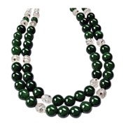 REDUCED Classic Double Strand Lampwork Glass Choker Necklace