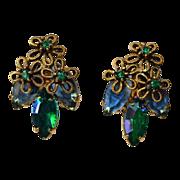 REDUCED Vintage Royal Blue Aurora Borealis Navettes Earrings