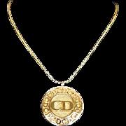 SALE Vintage DIOR Designer Logo Disc Necklace