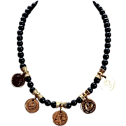 SALE Vintage 24K Gold Plated Mediterranean Onyx Necklace