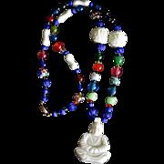 SALE Old Chinese Peking Glass Buddha Trade Bead Necklace