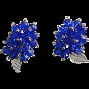 SALE Vintage Cobalt Blue Beaded Crystal Dress Clips