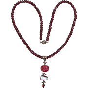 SALE Vintage Asian Garnet Beaded Necklace with Pendant Drop