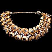 REDUCED Vintage Art Nouveau Style Peacock Crystal Link Bracelet