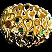 SALE Vintage Gripoix Glass Bangle Bracelet 10K Gold Plate