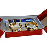 REDUCED Vibrant Blue Enamel Rhinestone Floral 14K gold plate Bangle Bracelet / Earrings