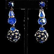 SALE Peacock Blue Austrian Crystal & Rhinestone Chandelier Earrings
