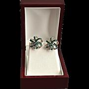 SALE Festive Marcel Boucher Holiday Ribbon Jeweled Earrings