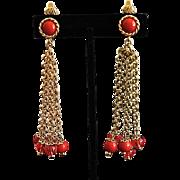 SALE Vintage Trifari Duster Red Lucite Balls Earrings
