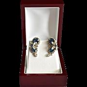 REDUCED Vintage Kramer Sapphire Blue Crystal & Rhinestone Butterfly Earrings