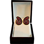 SALE Vintage Ellen Designs Artistic Enamel Ware Earrings.