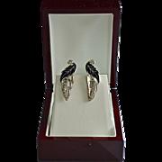 SALE Black Silver Leaf Enamel Earrings With Rhinestones