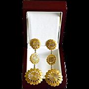 SALE Diva 14K Gold Plate Sunflower Chandelier Pierced Earrings