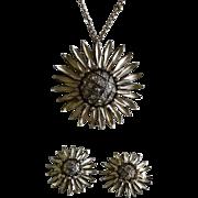 REDUCED Nettie Rosenstein Sterling Enamel Sunflower Pendant Necklace Set