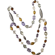 Vintage Double Strand Faceted Lucite Beaded Necklace