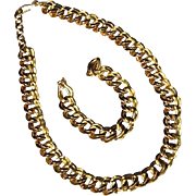 REDUCED Chunky Monet 14K Gold Plate Double Link Chain Necklace & Bracelet