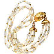SALE Vintage Murano White & Clear Crystal Beaded Necklace