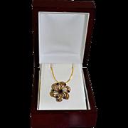 SALE Vintage Victorian Style Floral Pinwheel Gold Tone Necklace