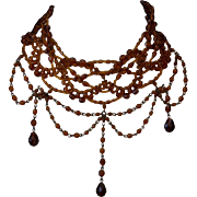 SALE Amber Czeh Glass Faceted Lace Fringe Necklace