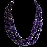 REDUCED Artisan Triple Strand Polished Amethyst Gemstone Sterling Necklace