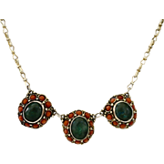REDUCED Israel Sterling Victorian Style Coral Malachite Medallion Necklace
