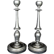 SALE Classic English / American Pewter Candlesticks