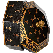 SALE Black Gold Octagon Shaped Decorative Box