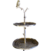 SALE Decorative Metalware Cast Iron Cake / Dessert Stand with Bird