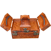 REDUCED Western Mid Century Hand-Tooled Leather Travel Train Case