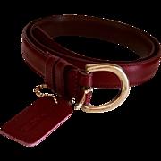 SALE Vintage Burgundy COACH Leather Ladies Fashion Belt