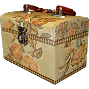 SALE English Decoupage Floral Lunch Box Style Footed Handbag