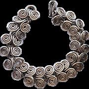 """SALE Sterling Silver Mexico Spiral """"Wave"""" Link Bracelet"""