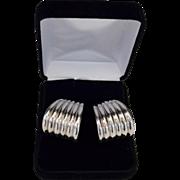 REDUCED Designer Modernist Jumbo Sterling Silver Hoop Earrings