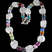 SALE Rock Crystal Quartz Artisan Beaded Bali Silver Necklace