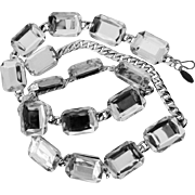 REDUCED Chunky Lucite Faceted Clear Gemstone Style Flat Link Style Belt