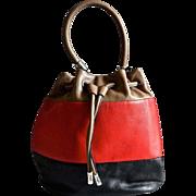 SOLD Gorgeous Brighton Tri Colored Leather Bucket Style Handbag