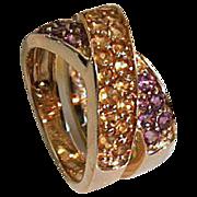 REDUCED Custom 14kt Gold Ladies Amethyst & Citrine Ring